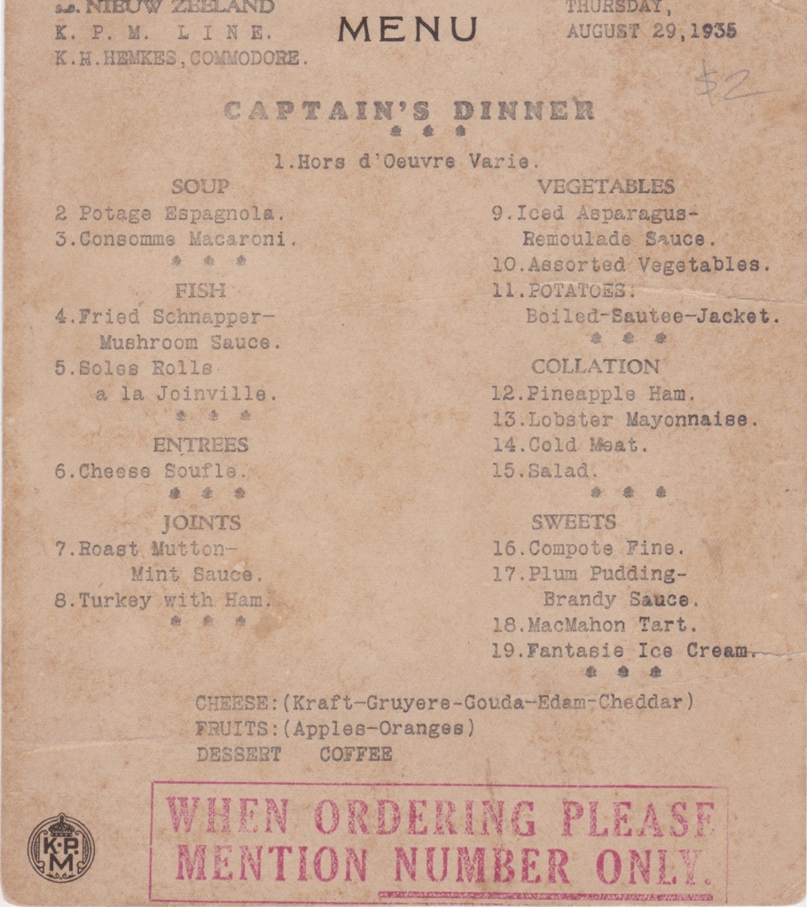 Shipping menu from the Dutch liner Nieuw Zeeland