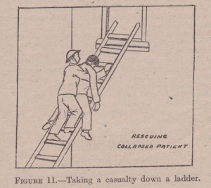 How to carry an unconsciousness person down a ladder NZ Civil Defence Wardens' Handbook 1943 Lemuel Lyes Collection