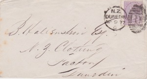1877 cover from Dunedin, New Zealand Lemuel Lyes Collection
