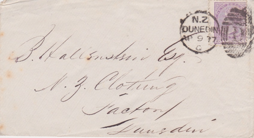 1877 cover from Dunedin, New Zealand