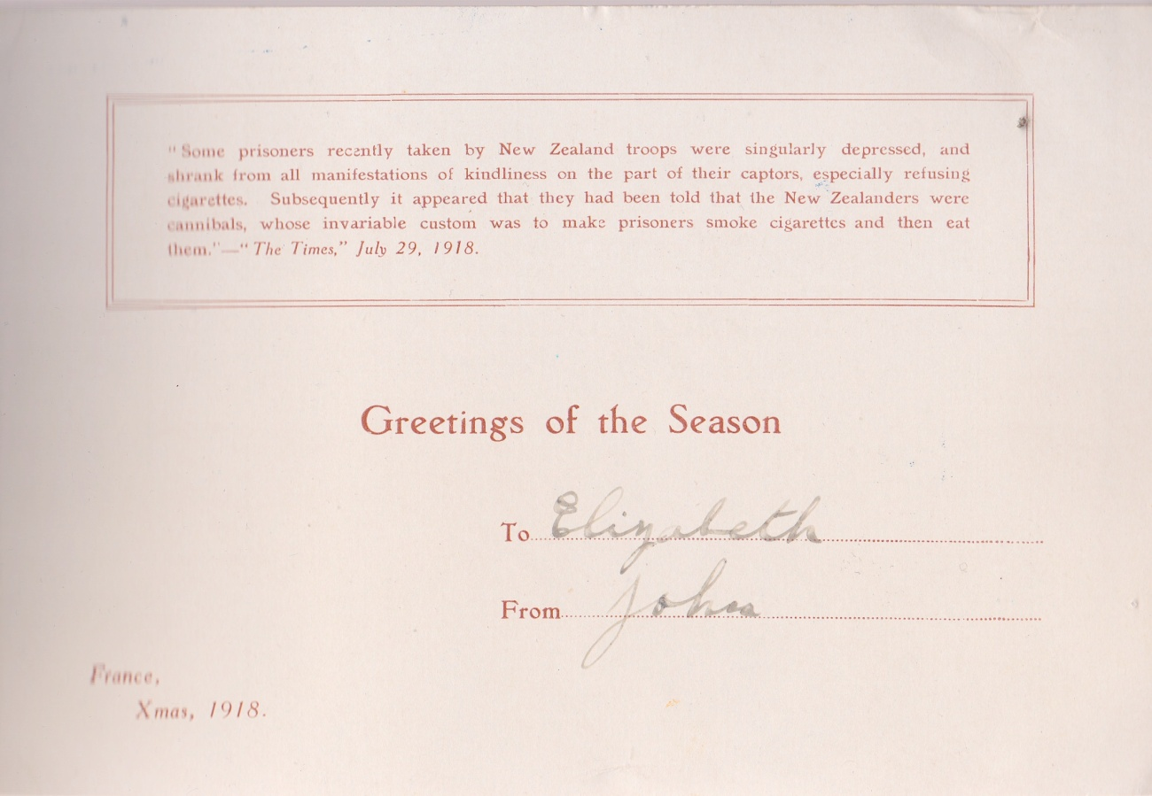 1918 Xmas CardLemuel Lyes Collection
