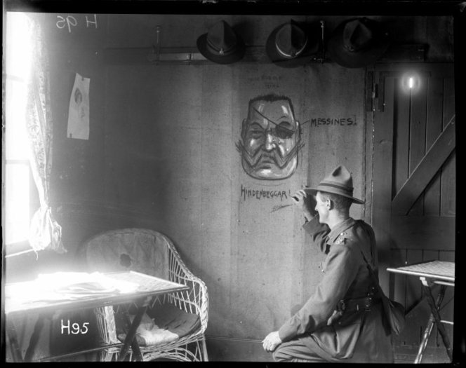 The New Zealand unofficial cartoonist (Lieutenant G. Pat Hanna) enlivens the walls of the officers club. Royal New Zealand Returned and Services' Association : New Zealand official negatives, World War 1914-1918. Ref: 1/2-012806-G. Alexander Turnbull Library, Wellington, New Zealand. http://natlib.govt.nz/records/22606412