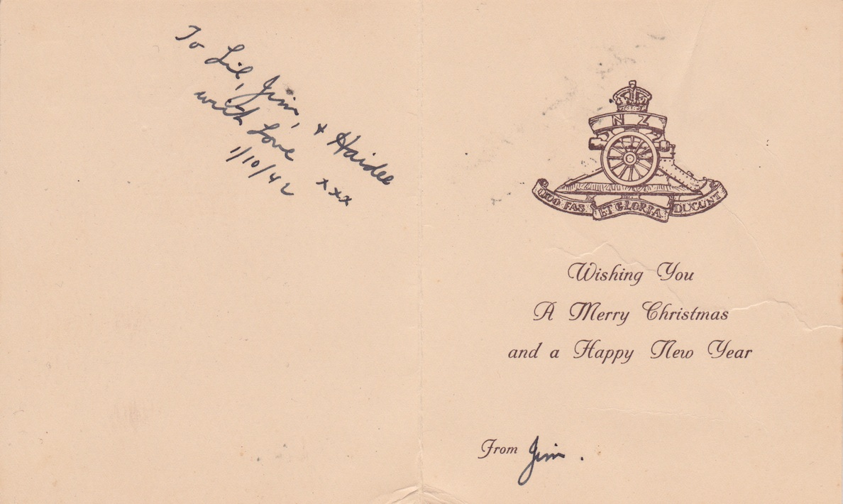 4 N.Z. Field Regiment Christmas Card, 1942Lemuel Lyes Collection