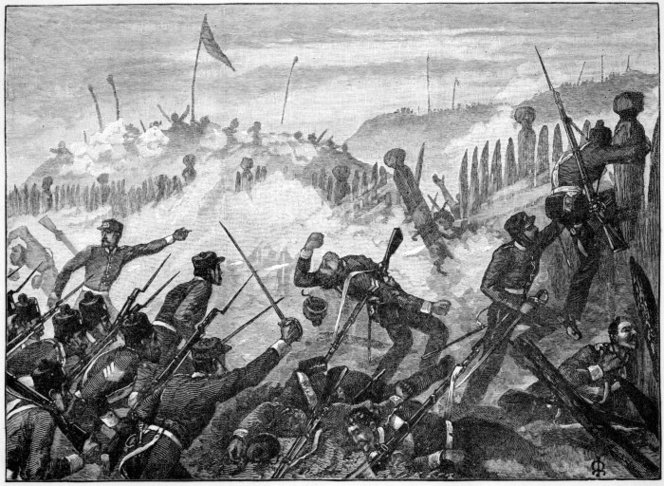 Redmayne, Thomas, fl 1880s-1890s. Redmayne, Thomas, fl 1880s-1890s :Attack on the Maori Pah at Rangiriri. [1863]. Cassell's picturesque Australasia, edited by E. E. Morris. London, Cassell Co, 1890. Ref: PUBL-0046-4-39. Alexander Turnbull Library, Wellington, New Zealand. http://natlib.govt.nz/records/23225621