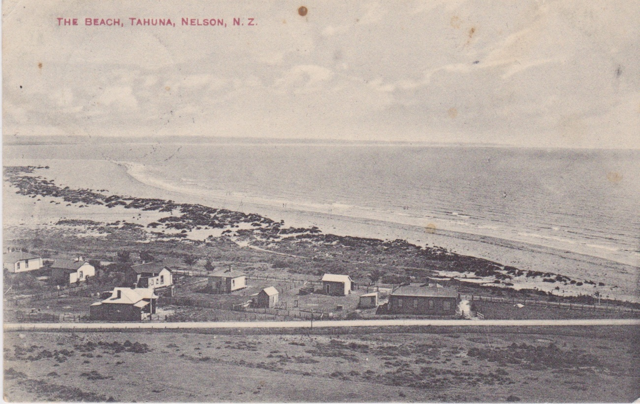 The Beach, Tahuna, Nelson. N.Z.  Postcard from the 'Alf. Robinson Series'.Lemuel Lyes Collection