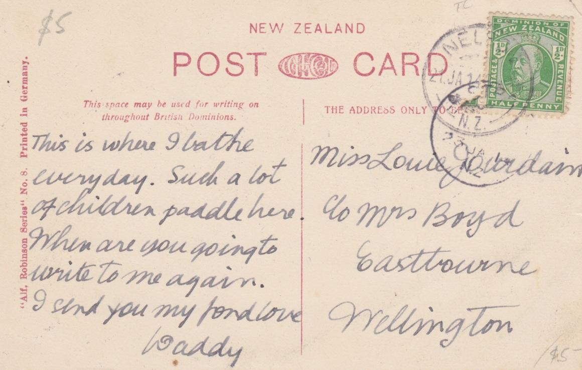 Back of Tahunanui Postcard, 1914Lemuel Lyes Collection