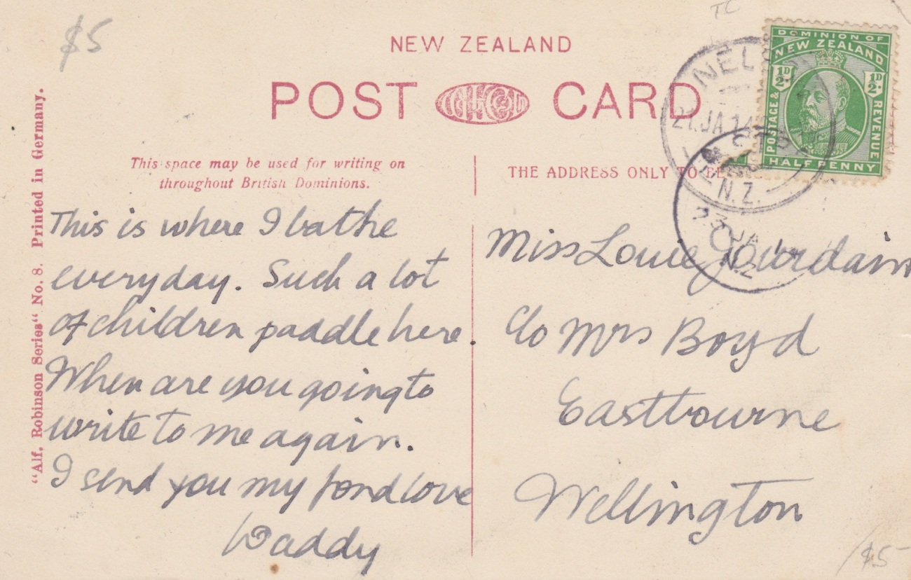 Back of Tahunanui Postcard, 1914Lemuel Lyes Collection