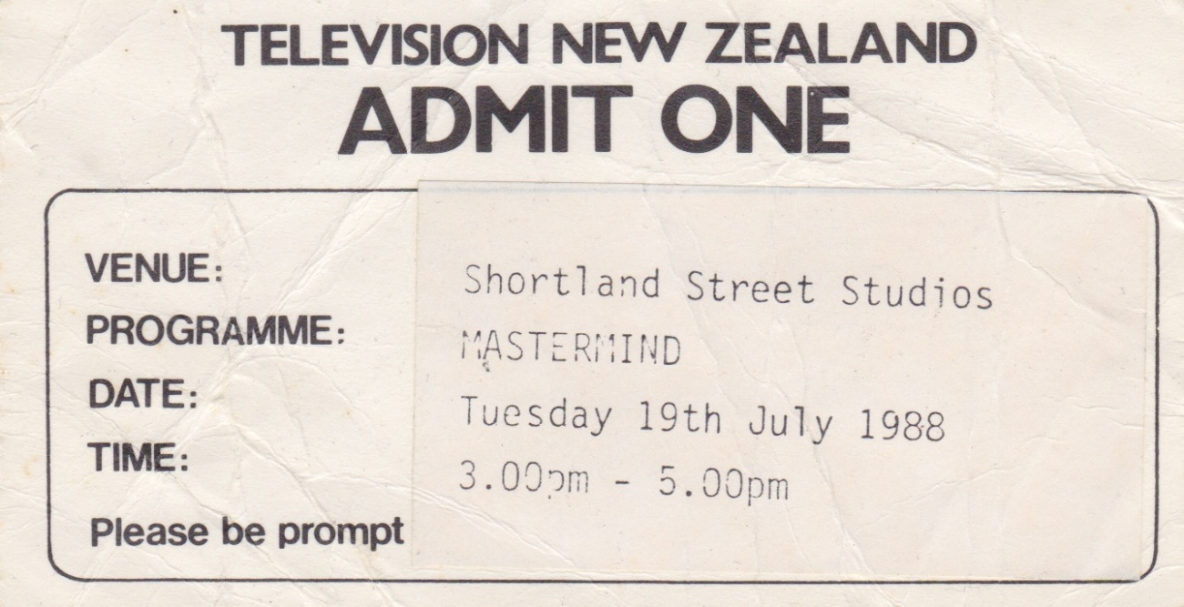 Ticket to TVNZ's 'Mastermind'Lemuel Lyes Collection