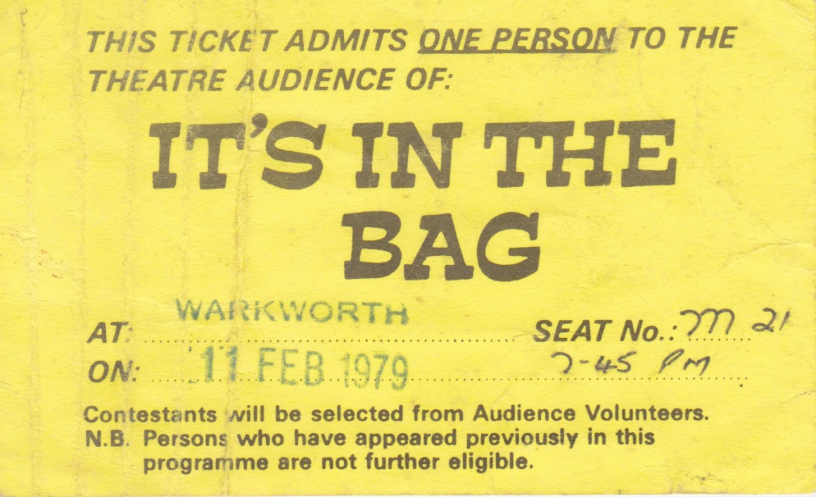 Ticket for 'It's in the Bag' Warkworth 1979Lemuel Lyes Collection