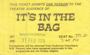 Ticket for 'It's in the Bag' Warkworth 1979 Lemuel Lyes Collection