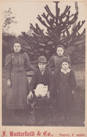Four Dunedin children at their pet cat.  1893 - 1898. Lemuel Lyes Collection