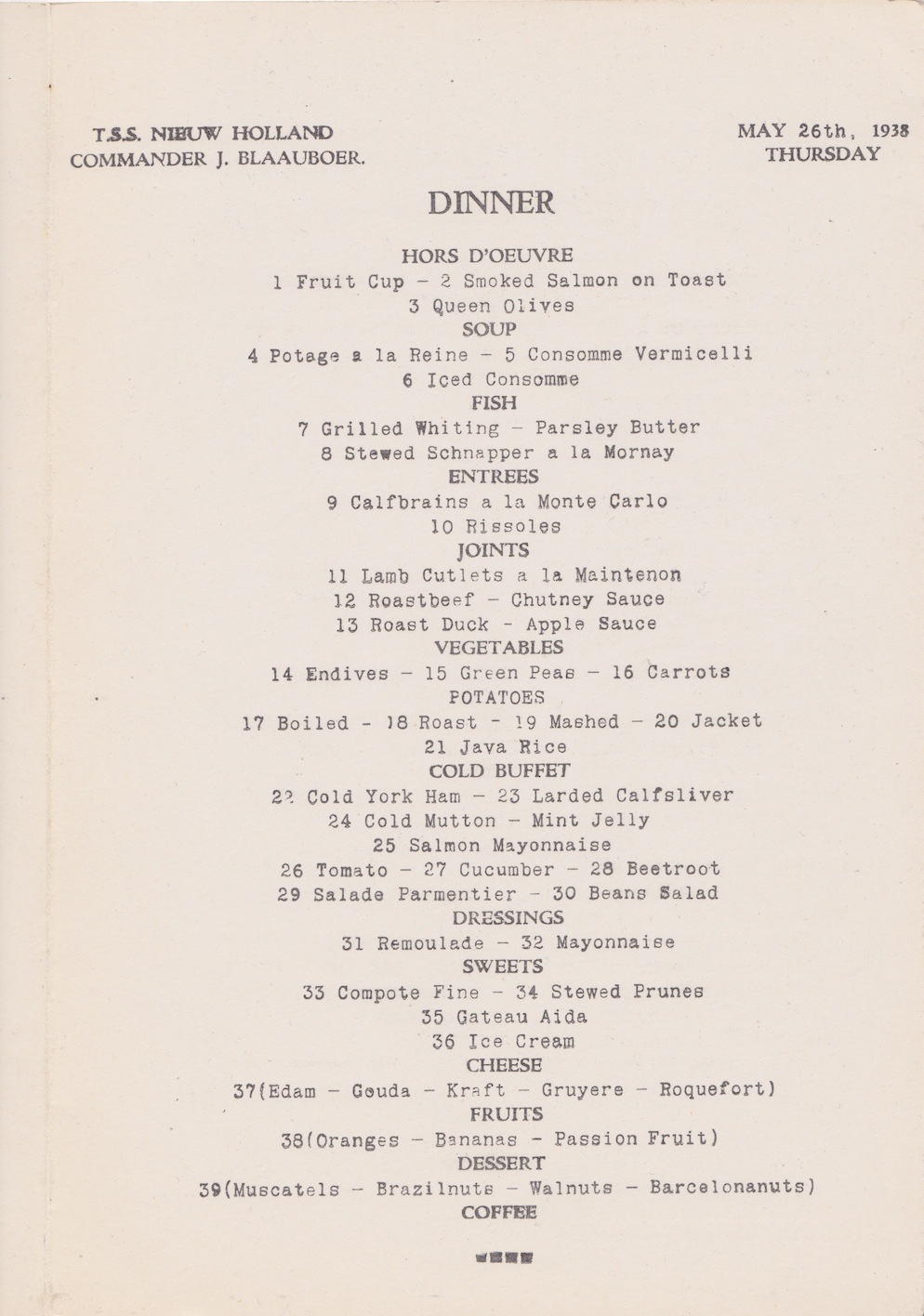 Menu from TSS Nieuw Holland, May 26th, 1938Lemuel Lyes Collection
