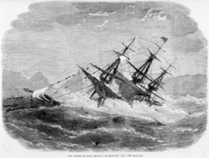 Illustrated London news (Newspaper). Illustrated London news :The wreck of H. M. S. Orpheus on Manukau Bar, New Zealand. [London, 1863]. Ref: PUBL-0033-1863-437. Alexander Turnbull Library, Wellington, New Zealand. http://natlib.govt.nz/records/22912580