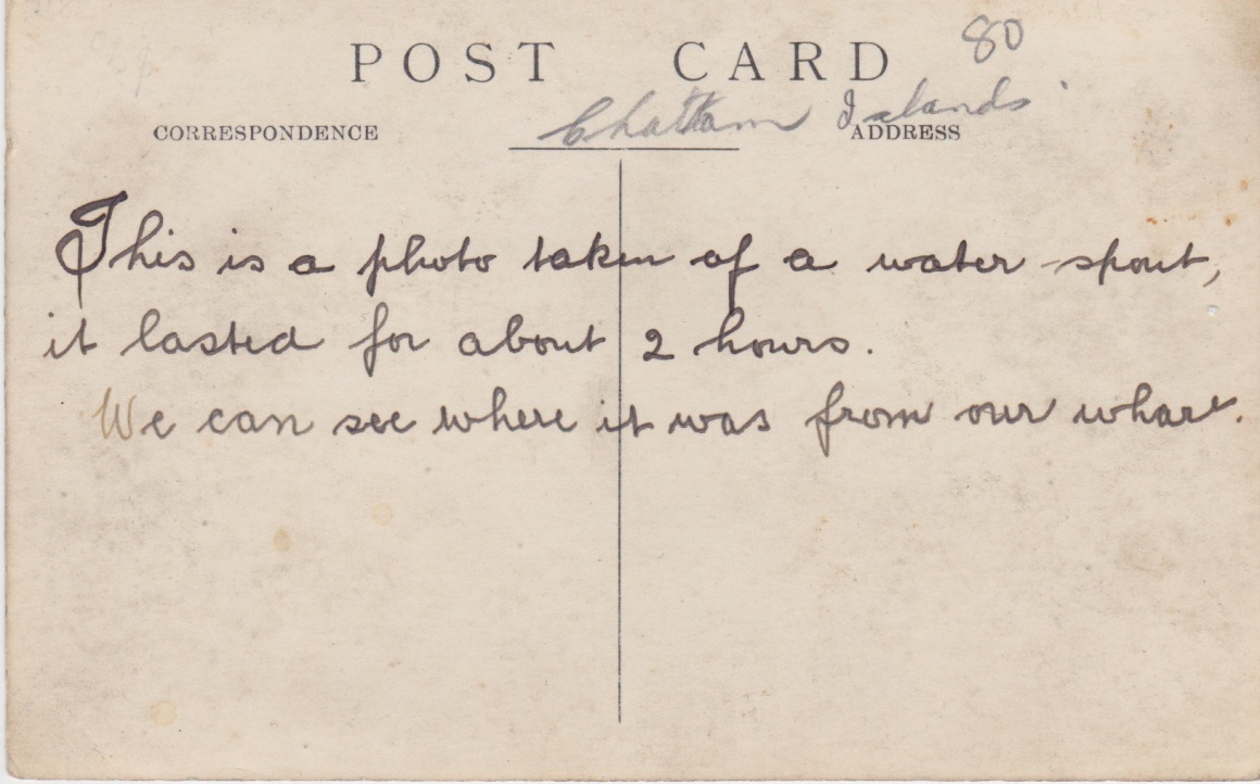 Reverse side of 1912 Waterspouts PostcardLemuel Lyes Collection