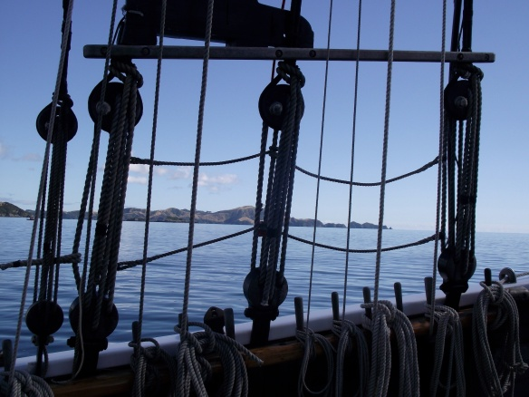 View of the Bay of Islands through the rigging of the R. Tucker Thompson© Lemuel Lyes 2013