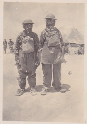 Soldiers wearing gas-masks in the Western Desert, 1941 Lemuel Lyes Collection