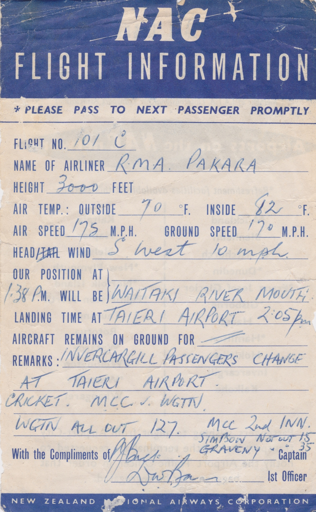 NAC Flight Information Sheet Lemuel Lyes Collection