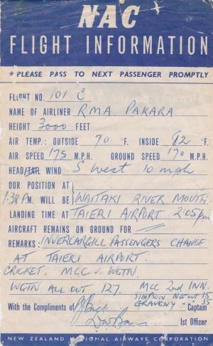 NAC Flight Information Sheet Lemuel Lyes Collection