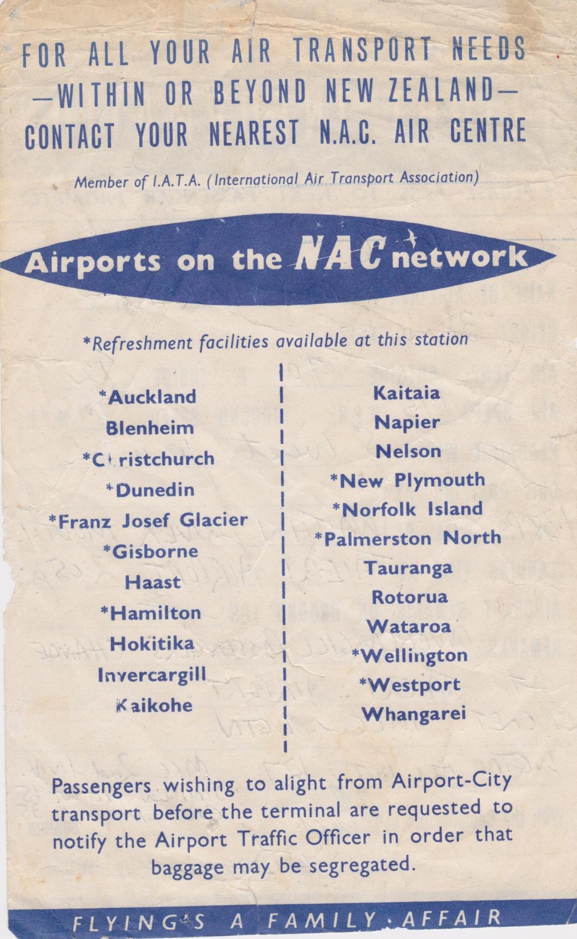 NAC Flight Information Sheet (Back) Lemuel Lyes Collection