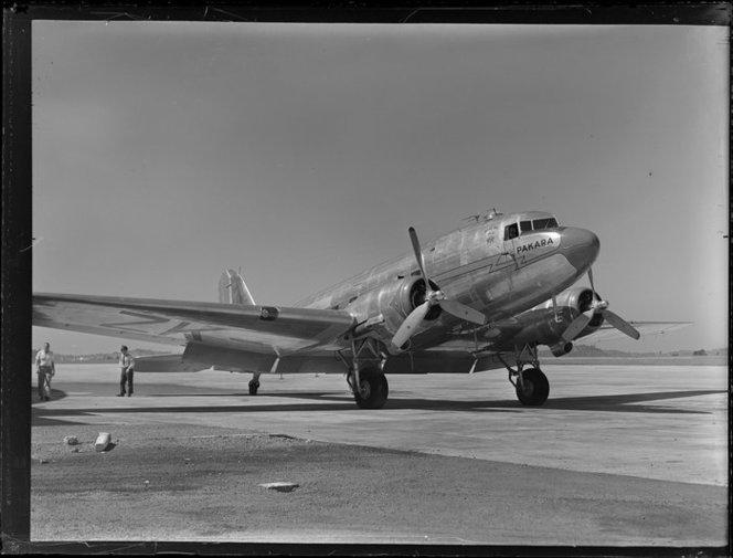 New Zealand National Airways Corporation, Dakota aircraft, Pakara. Whites Aviation Ltd :Photographs. Ref: WA-12306-G. Alexander Turnbull Library, Wellington, New Zealand. http://natlib.govt.nz/records/22512986