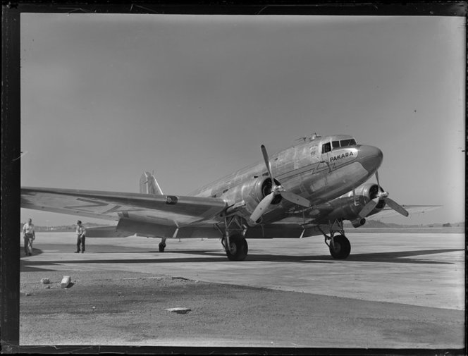 New Zealand National Airways Corporation, Dakota aircraft, Pakara. Whites Aviation Ltd :Photographs. Ref: WA-12306-G. Alexander Turnbull Library, Wellington, New Zealand. http://natlib.govt.nz/records/22512986
