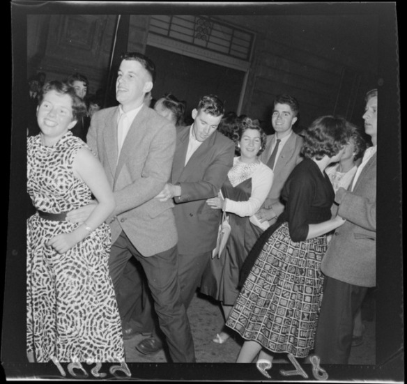 The public dancing in Mercer Street, Wellington. Negatives of the Evening Post newspaper. Ref: EP/1959/0678-F. Alexander Turnbull Library, Wellington, New Zealand. http://natlib.govt.nz/records/23263452