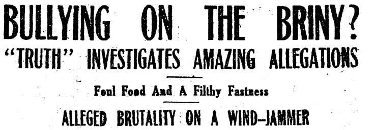 Headline from 'NZ Truth' 5th May 1923 Courtesy of Papers Past