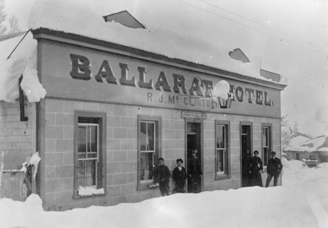 Snow at the Ballarat Hotel, St Bathans, Central Otago - Photograph taken by F M Pyle. Paterson, M, fl 1966 : Photographs, particularly of St Bathans, Central Otago. Ref: 1/2-027140-F. Alexander Turnbull Library, Wellington, New Zealand. http://natlib.govt.nz/records/22638058