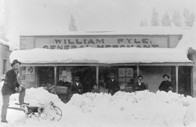 Snow at William Pyle's general store, St Bathans, Central Otago - Photograph taken by F M Pyle. Paterson, M, fl 1966 : Photographs, particularly of St Bathans, Central Otago. Ref: 1/2-027134-F. Alexander Turnbull Library, Wellington, New Zealand. http://natlib.govt.nz/records/23193076