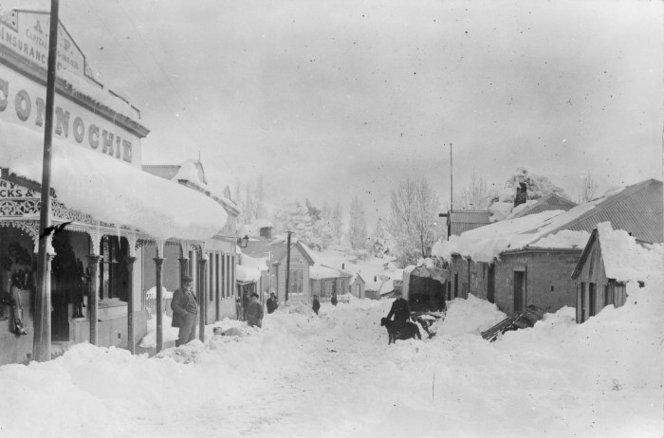 Street scene with snow, St Bathans, Central Otago - Photograph taken by F M Pyle. Paterson, M, fl 1966 : Photographs, particularly of St Bathans, Central Otago. Ref: 1/2-027137-F. Alexander Turnbull Library, Wellington, New Zealand. http://natlib.govt.nz/records/23244252