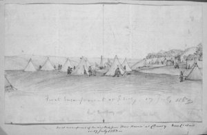 Sketch made on 17th July 1863  Scrivener, Henry Ambrose, 1842-1906. Scrivener, Henry Ambrose, 1842-1906 :First encampment at Drury. 17 July 1863. Naval encampment of landing party from HMS Harrier... 1863.. Scrivener, Henry Ambrose, 1842-1906 :First encampment at Drury. 17 July 1863. Naval encampment of landing party from HMS Harrier... 1863; and (on verso) Nukulau Island, Fiji Islands. 1861... Ref: B-064-025. Alexander Turnbull Library, Wellington, New Zealand. http://natlib.govt.nz/records/22655199