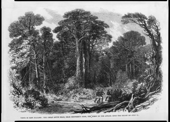 Illustrated London news (Newspaper). Illustrated London news :Views in New Zealand. The Great South Road, near Shepherd's Bush, the scene of the attack upon the escort on July 17 (London, 1863). Ref: PUBL-0033-1863-477. Alexander Turnbull Library, Wellington, New Zealand. http://natlib.govt.nz/records/22325734
