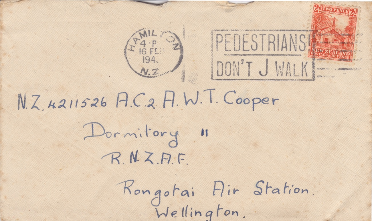 Cover addressed to Rongotai Air Station Lemuel Lyes Collection