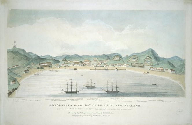 Sketch from the day before the battle - showing some of the many ships that were in the harbour Clayton, George Thomas (Capt), fl 1845-1848. Clayton, George Thomas fl 1845 :Kororareka in the Bay of Islands, New Zealand. Sketched Mar 10th 1845 on the morning before the assault and destruction by Honi Heke. Drawn by Captain Clayton, and on stone by W. A. Nicholas. London, E. D. Barlow [1845?]. Ref: C-010-022. Alexander Turnbull Library, Wellington, New Zealand. http://natlib.govt.nz/records/22708113