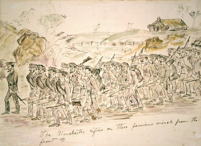 The 96th Regiment during the Northern War Robley, Horatio Gordon, 1840-1930. Robley, Horatio Gordon 1840-1930 :The Manchester rifles on there [sic] famious [sic] march from the front &c. [1845. Painted after 1863]. Ref: A-080-021. Alexander Turnbull Library, Wellington, New Zealand. http://natlib.govt.nz/records/22532931