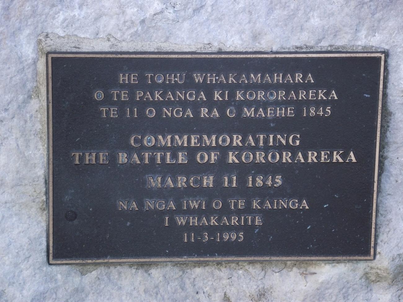 Memorial commemorating the Battle of Kororareka © Lemuel Lyes 2013