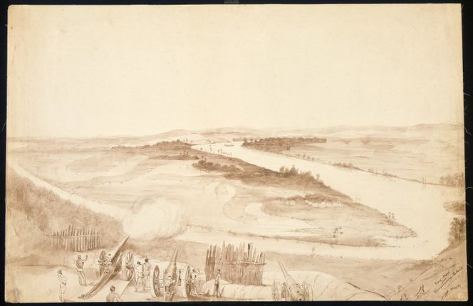 Heaphy, Charles, 1820-1881. Heaphy, Charles 1820-1881 :Mere-Mere from Whangamarino Redoubt [1863]. Ref: C-025-011. Alexander Turnbull Library, Wellington, New Zealand. http://natlib.govt.nz/records/23138553