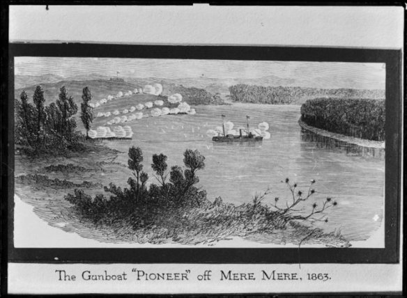 Illustration of the gunboat Pioneer off Meremere. Collis, William Andrews, 1853-1920 :Negatives of Taranaki. Ref: 1/2-015500-G. Alexander Turnbull Library, Wellington, New Zealand. http://natlib.govt.nz/records/22726568