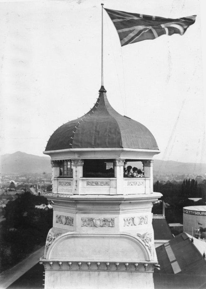 Top of the No 1 south tower of the New Zealand International Exhibition, Hagley Park, Christchurch. Grossman, Beatrice: Album of Charles Seager. Ref: 1/2-022812-F. Alexander Turnbull Library, Wellington, New Zealand. http://natlib.govt.nz/records/22391869