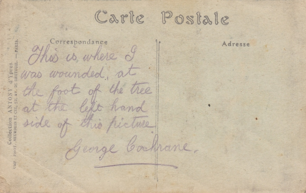 Message from soldier wounded at Polderhoek Chateau Lemuel Lyes Collection