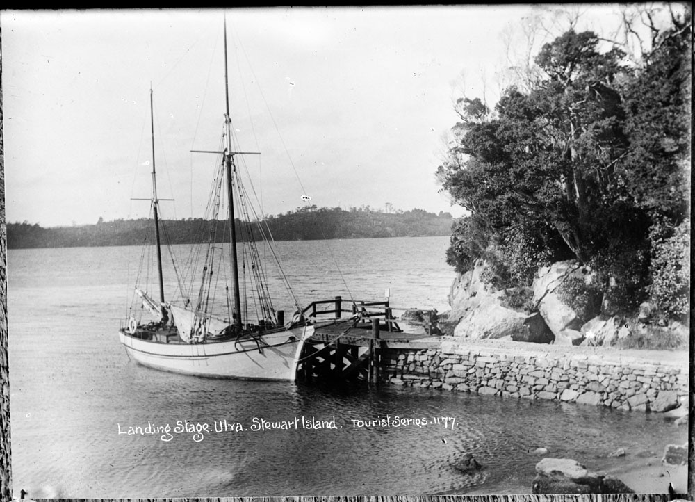 Ship moored at Post Office Bay, Ulva Island Sir George Grey Special Collections, Auckland Libraries, 35-R1396