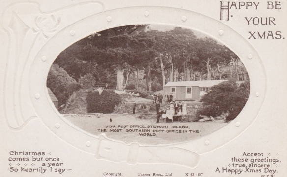 Postcard of Paterson Inlet Post Office, Ulva Island - Sent Christmas 1919 Lemuel Lyes Collection