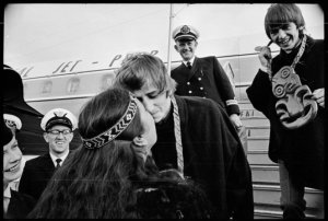 Ringo Starr being greeted with the hongi, Wellington. Hill, Morris James, 1929-2002 :Negatives of Wellington, and national events and personalities. Ref: 1/4-071854-F. Alexander Turnbull Library, Wellington, New Zealand. http://natlib.govt.nz/records/22787513