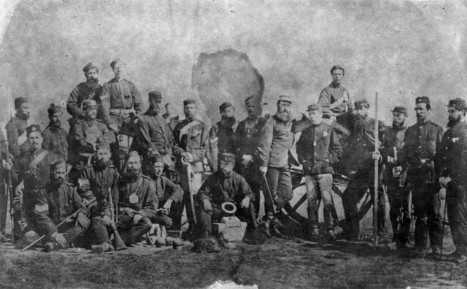 General Duncan Alexander Cameron with a group of soldiers of the Colonial Defence Force. Ref: 1/2-029252-F. Alexander Turnbull Library, Wellington, New Zealand. http://natlib.govt.nz/records/23062638