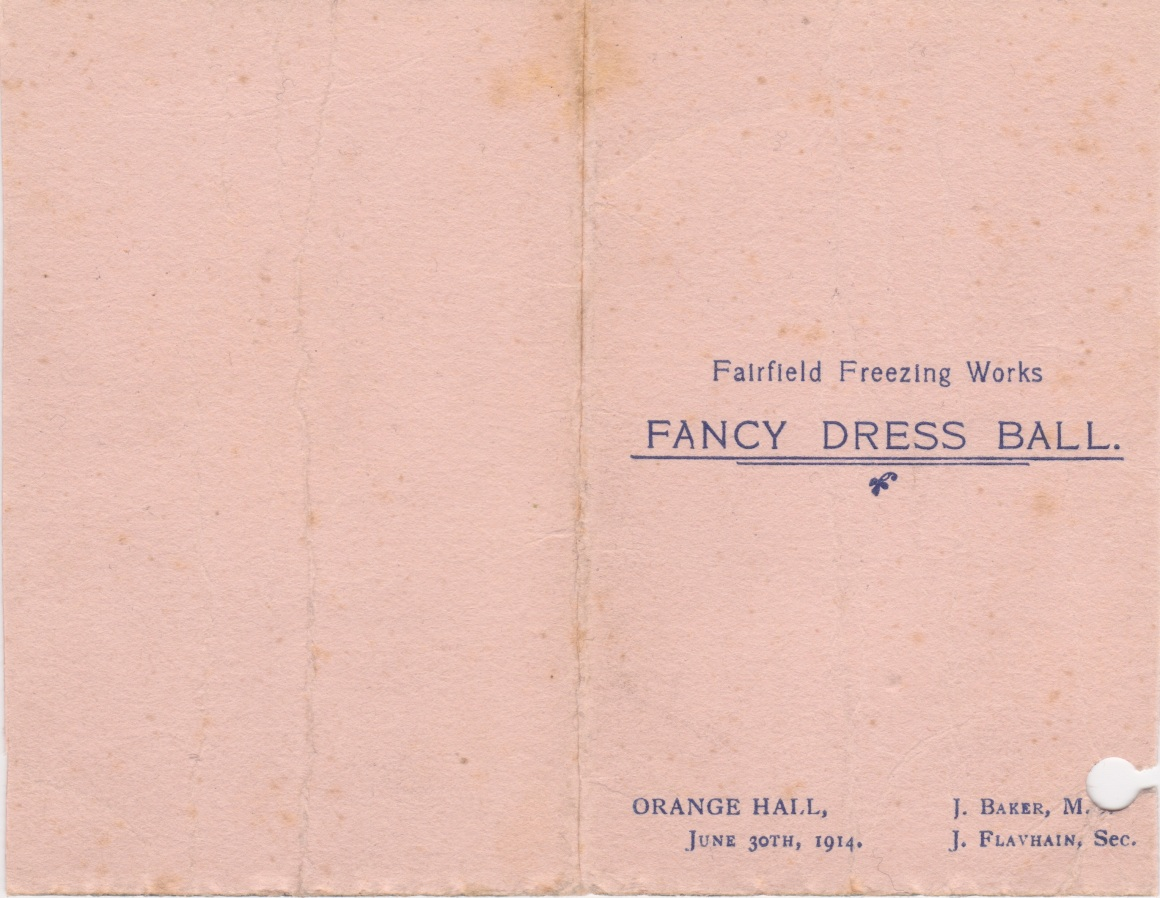 30 June 1914 Fairfield Freezing Works Dance Card Lemuel Lyes Collection