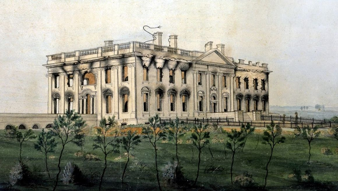 The White House ruins after the conflagration of August 24, 1814. Watercolor by George Munger, displayed at the White House Wikimedia Commons - Public Domain