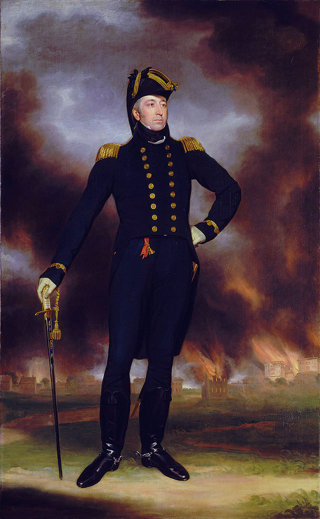 The Burning of Washington forms the background to this portrait of Rear Admiral George Cockburn Wikimedia Commons - Public Domain