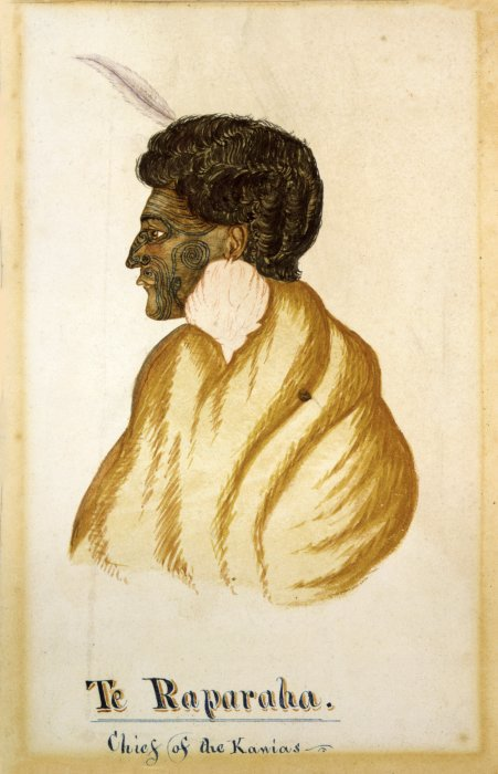 Hall, R, fl 1840s. Hall, R., fl 1840s :Te Raparaha, chief of the Kawias. [After 1843]. Ref: A-114-047. Alexander Turnbull Library, Wellington, New Zealand. http://natlib.govt.nz/records/22799859