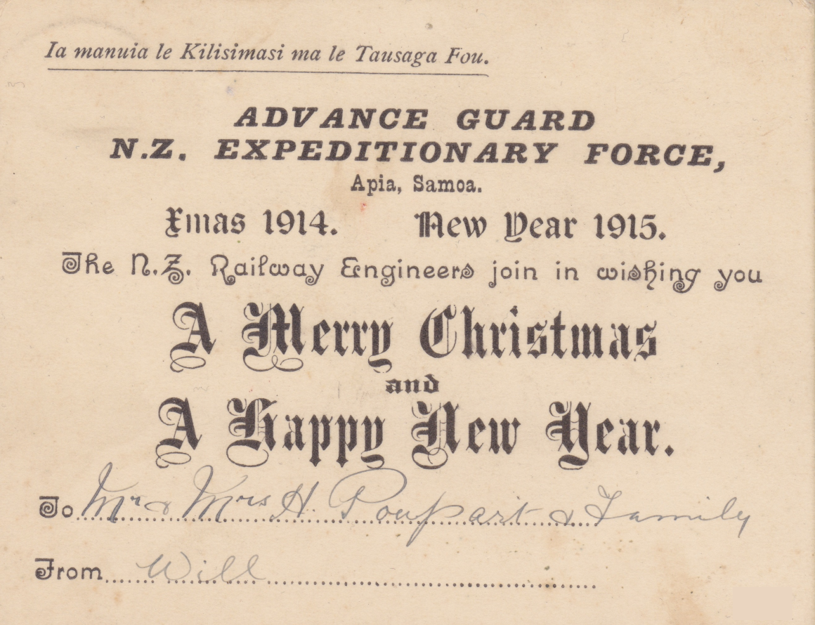 Card sent by New Zealand engineer in Samoa wishing the recipient a Merry Christmas and a Happy New Year.  1915 Would be a tragic year for many New Zealanders. Lemuel Lyes Collection