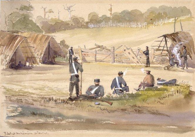 Williams, Edward Arthur (Colonel), 1824-1898. Williams, Edward Arthur 1824-1898 :Picket at Nukamuru 30 Jan[uar]y [18]65. Ref: A-210-019. Alexander Turnbull Library, Wellington, New Zealand. http://natlib.govt.nz/records/23092286